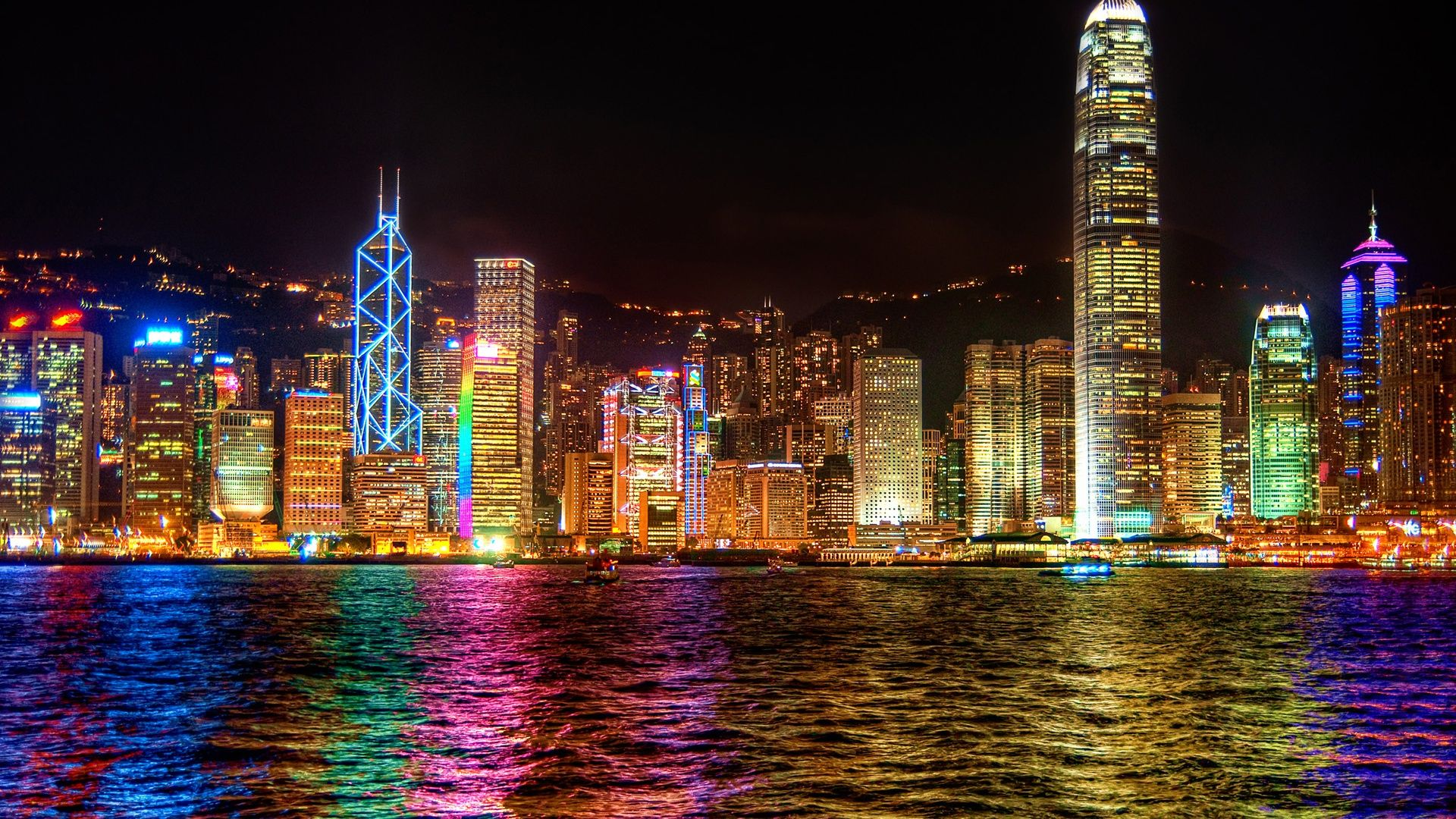 Hong Kong City Lights At Night Most Beautiful Cities City Lights At Night City Wallpaper