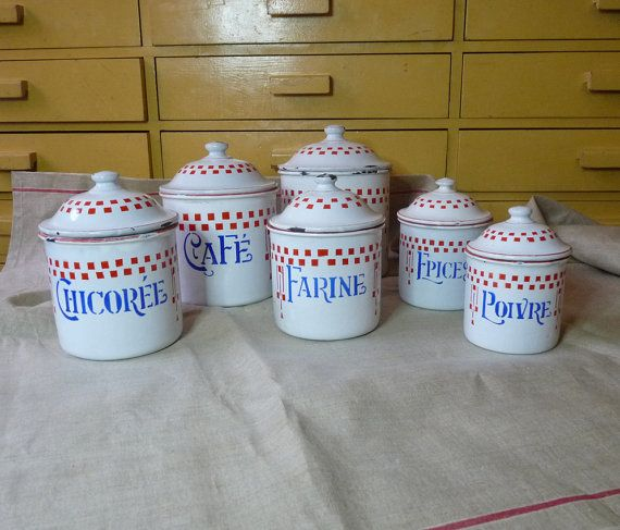 Enamel Canisters Set of 6 French Kitchen Canisters Kitchen Decor 1900-1930s