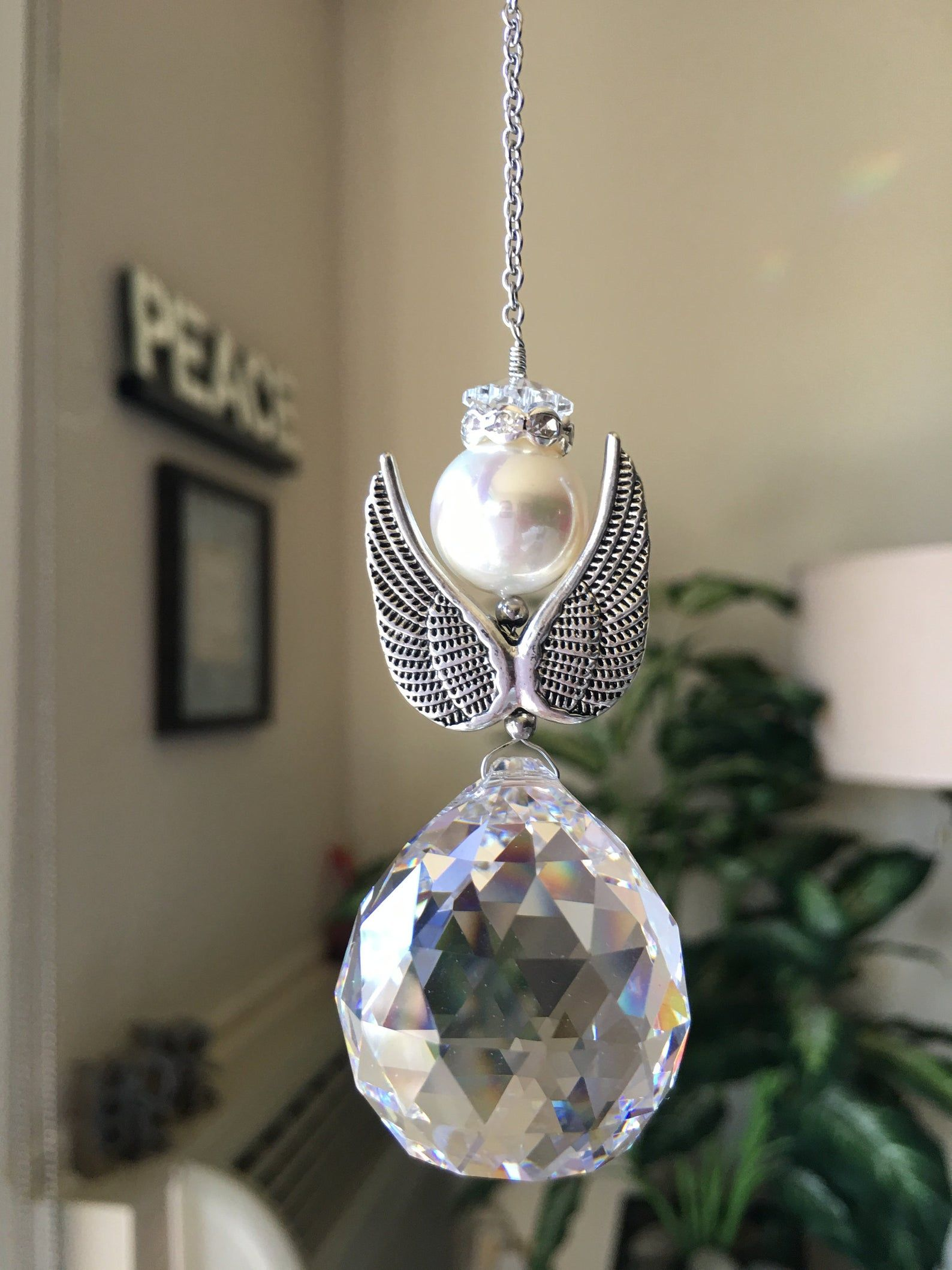 Angel Wings W Crystal Sun Catcher Window Prism Hanging Crystal