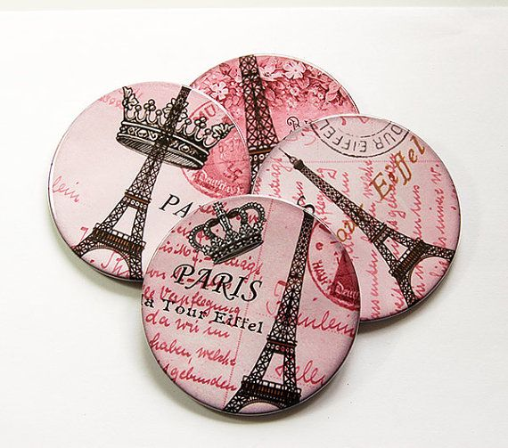 Paris Coasters, Wine Coasters, Coasters, Drink Coasters, Tableware, Housewarming Gift, Hostess Gift, Paris, Pink, Eiffel Tower (5017)
