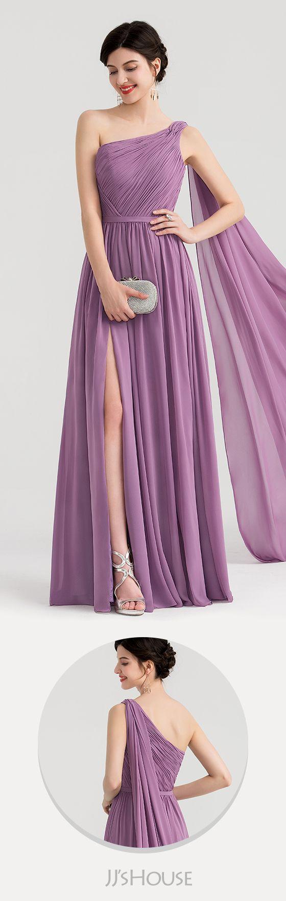 0b6461fb398d A-Line Princess One-Shoulder Floor-Length Chiffon Evening Dress With Ruffle  Split Front  JJsHouse  Evening dresses