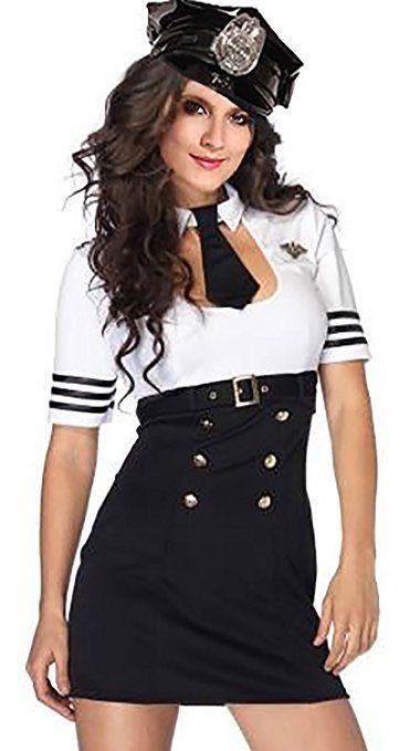 R Dessous Hochwertiges Damen Polizei Polizistin Cop Kostum Uniform