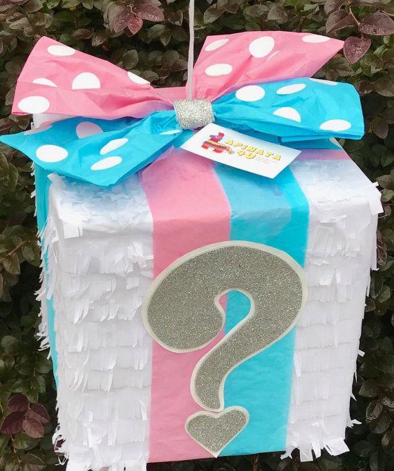 Gift box with pink blue bow gender reveal pi ata cajas - Regalos para pinatas ...