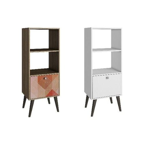 repisa de dos estantes y puerta dos colores brv bpp11 madera
