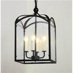 American Country Minimalist Square Glass And Wrought Iron Pendant