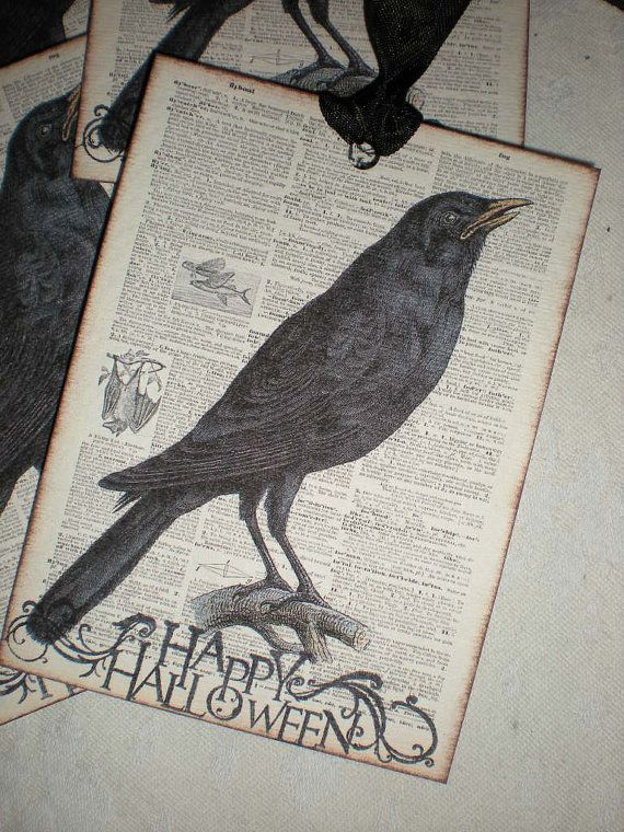 Set of 4 oversized classic Raven Halloween by creationsbyminda, $5.00