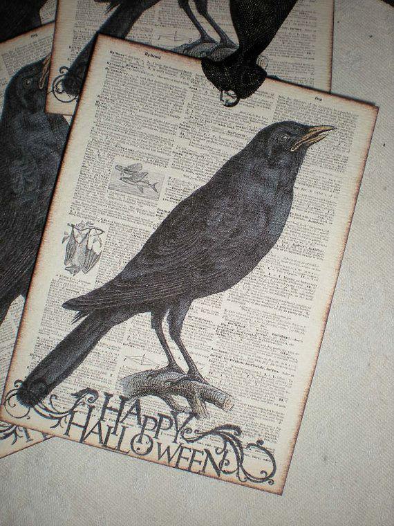 Set of 4 oversized classic Raven Halloween by creationsbyminda, $5.00