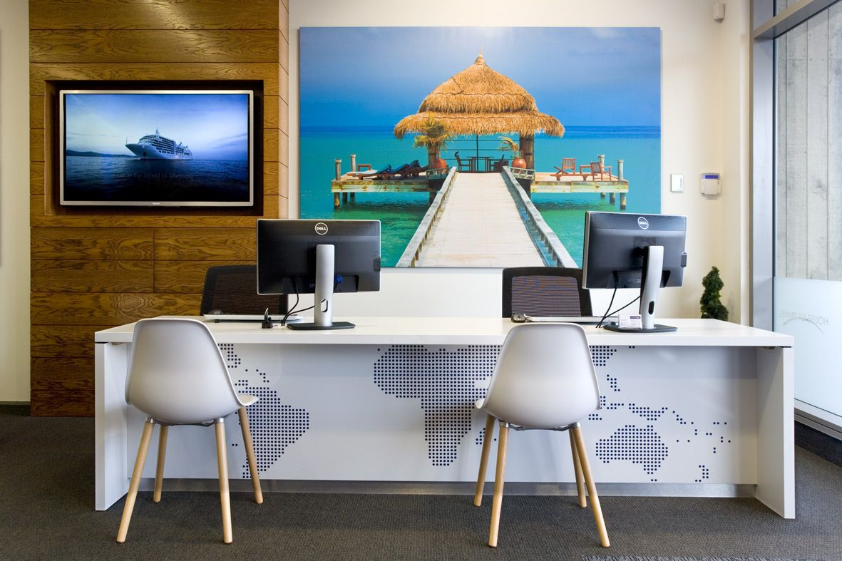 Travel is the 1 most researched word on the internet be for Travel agency office interior design ideas
