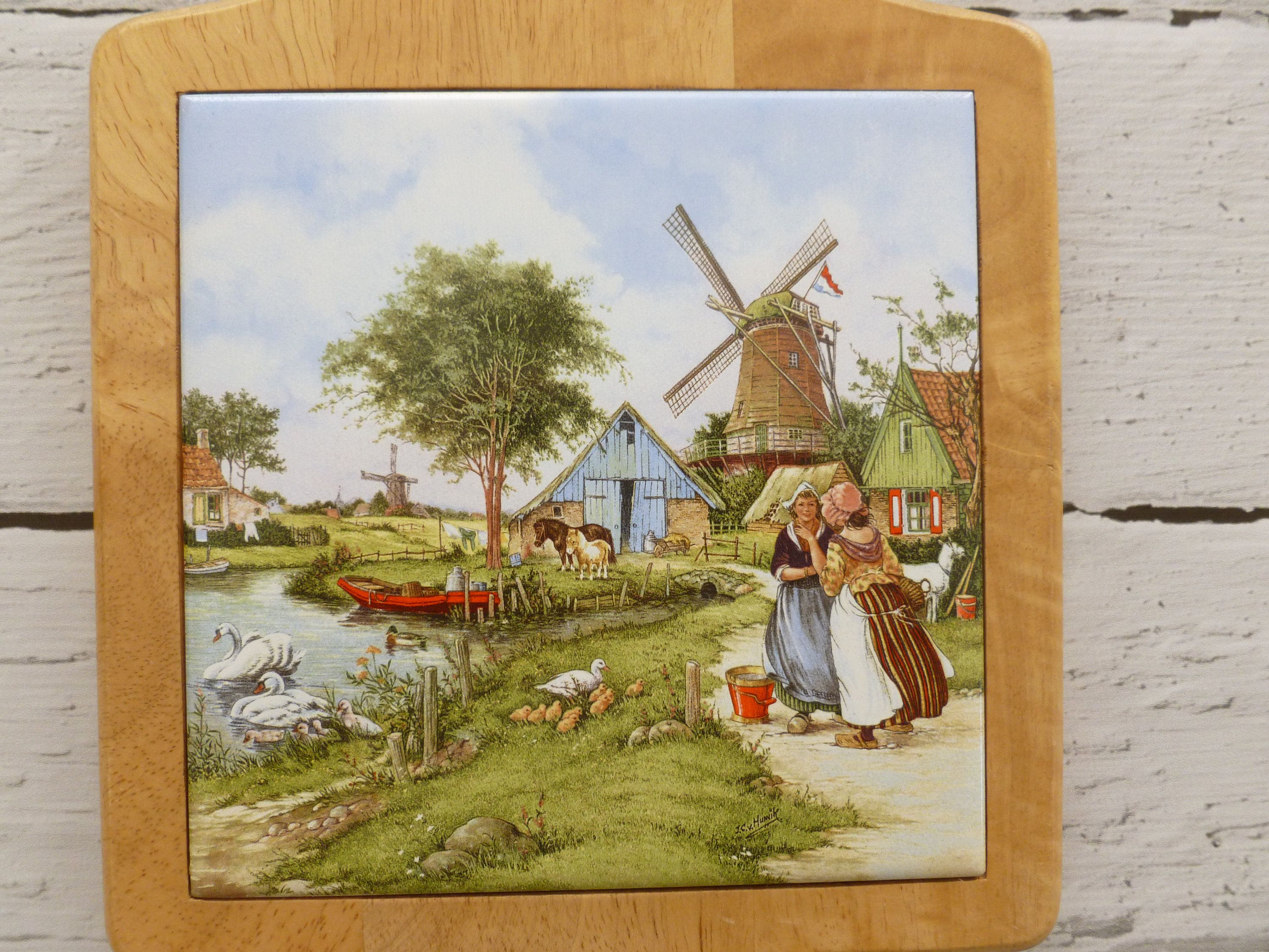 Vintage mid century decorative wooden board ceramic tile inlay vintage mid century decorative wooden board ceramic tile inlay dutch windmill scene vintage decor mid century decor dutch decor wall art dailygadgetfo Image collections