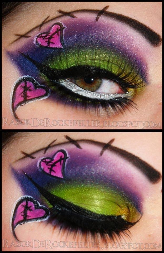 Goth Eyes Frankenstein Makeup Stitches Hearts Gothic Doll