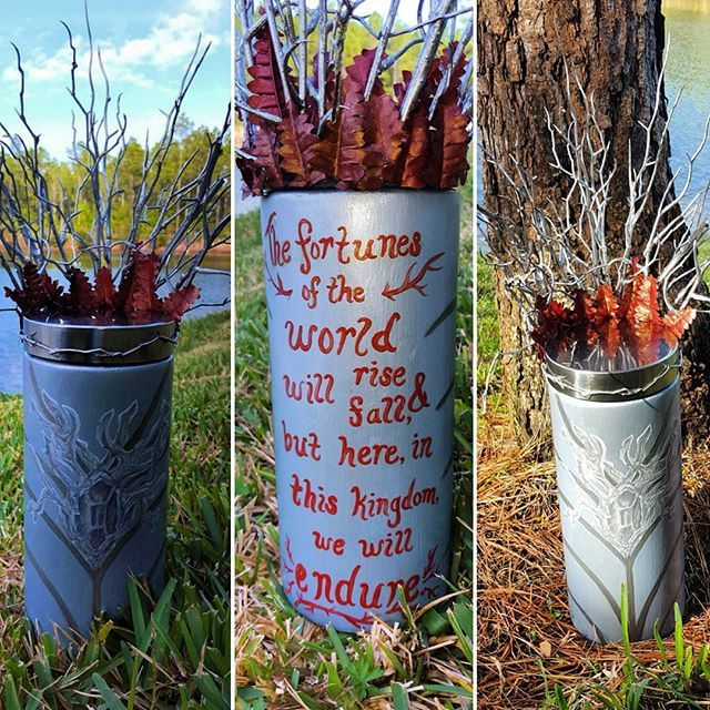 #Thranduil inspired jar from #thehobbit! The crown is made of twigs and leaves, and the brooch and line work represents his utterly fab robes and My friend's favorite quote by him =) now made to order at #jarrynight! #lotr #partythranduil #paintedjars #leepace #anunexpectedjourney