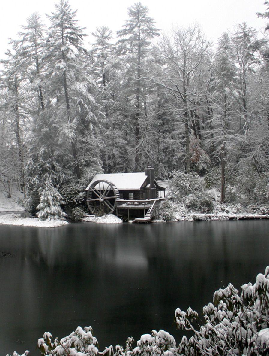 Mountain Log Honeymoon #cabin Rental With A Waterwheel In Snow At High  Hampton Inn In