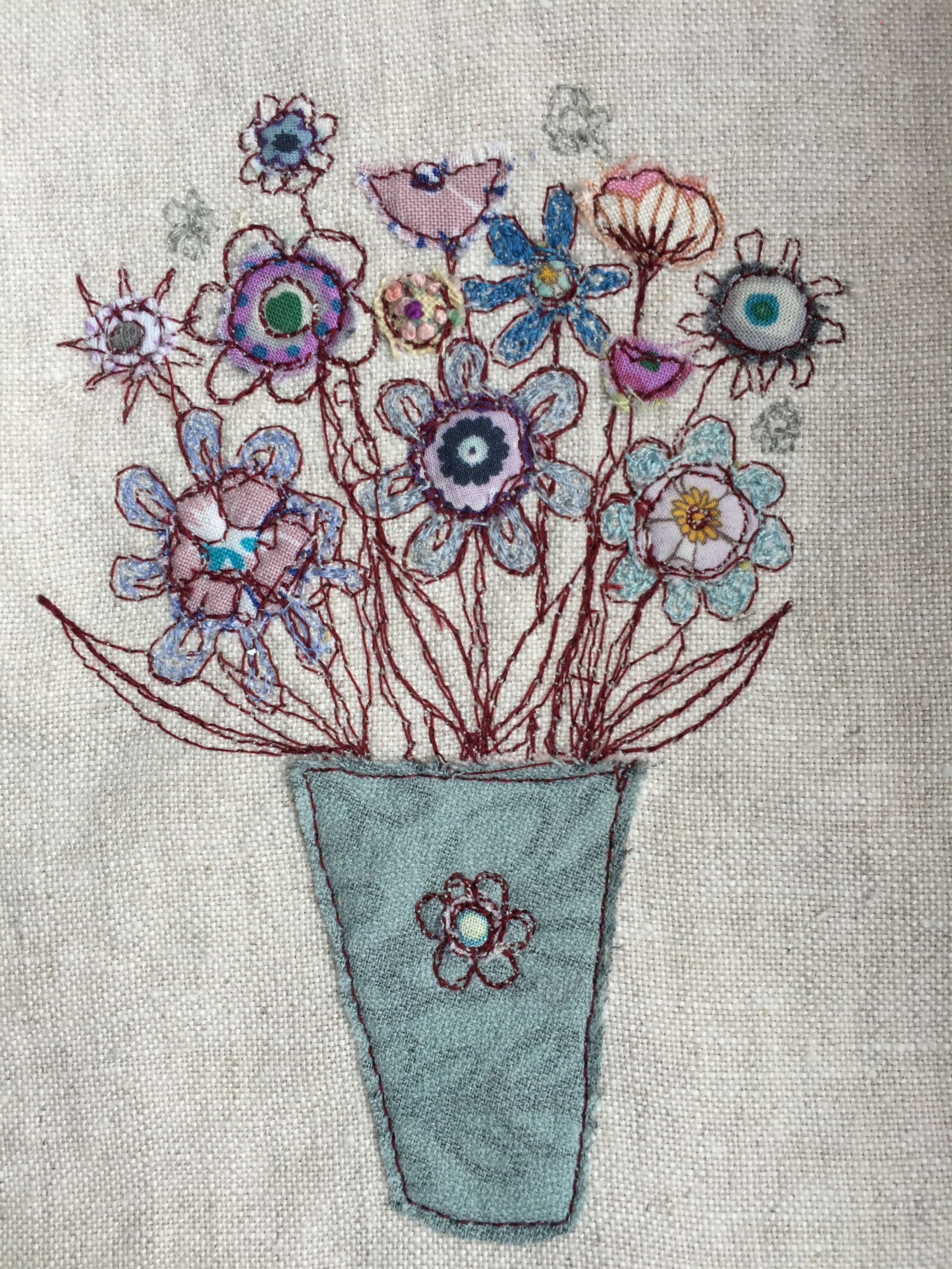 Freemachine embroidery & appliqué vase of flowers (With