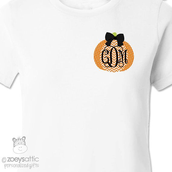 Looking for an adorable shirt to wear this Fall? Then this trendy womens top with chevron and polkadot pumpkin design complete with your monogram is
