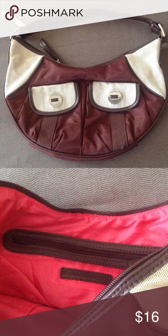 NWOT Tommy Hilfiger casual purse Brown poly/beige weave, magnet snap front pockets Tommy Hilfiger Bags Shoulder Bags