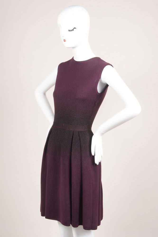 Christian Dior Purple Black Glitter Sleeveless Pleated Dress #ChristianDior #Sheath