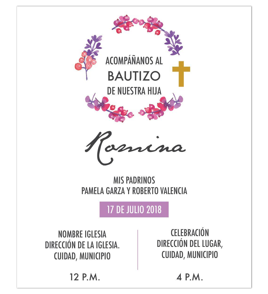 Invitación Bautizo Flores Invitaciones Bautizo Oraciones