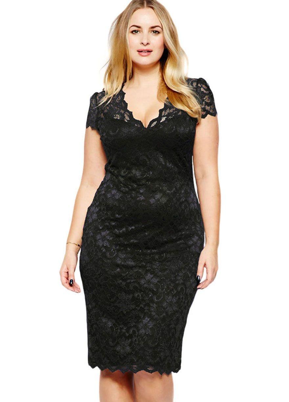 Scalloped V Neck Lace Plus Size Midi Dress_Plus size Dress_Plus size ...
