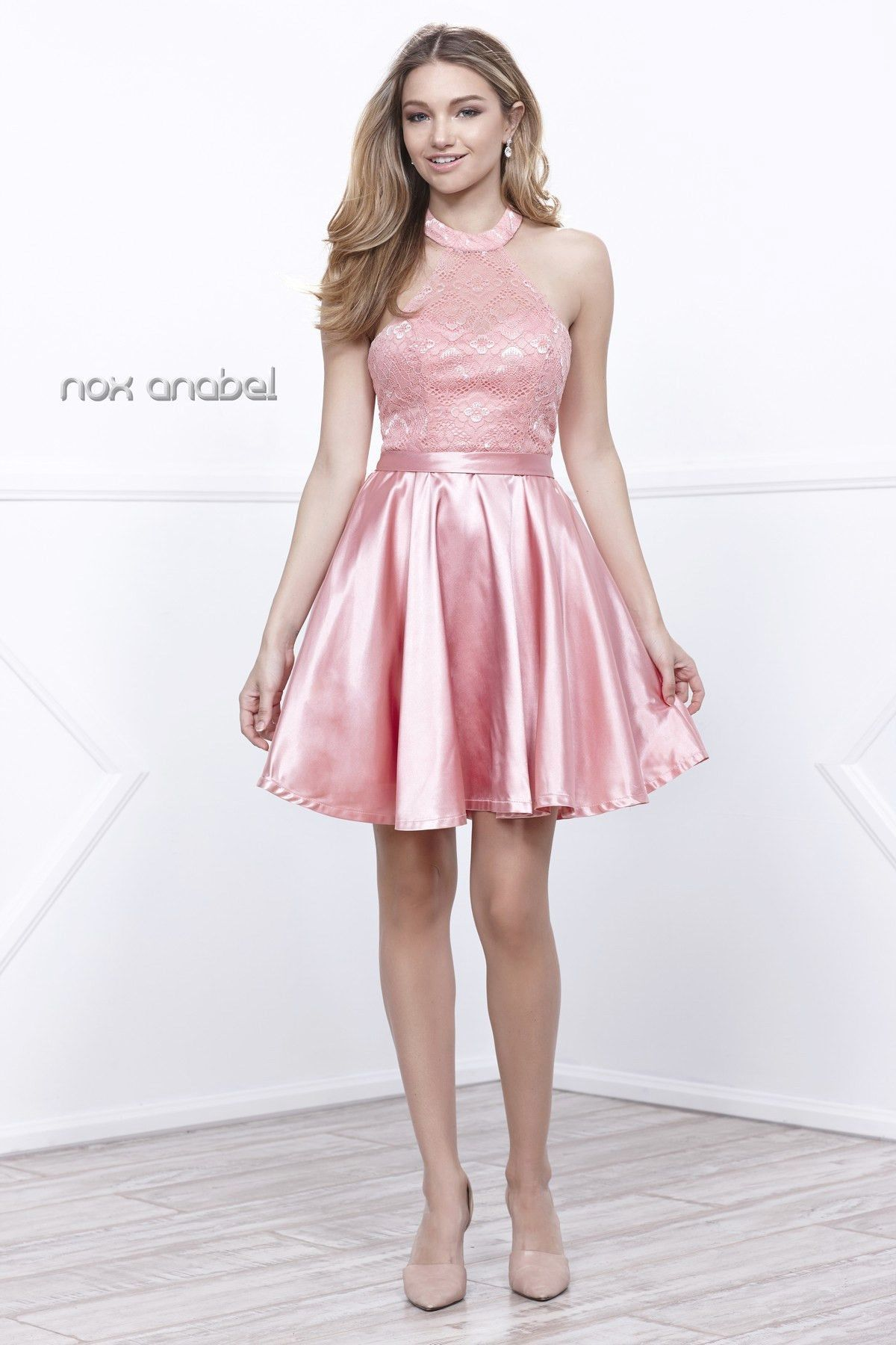 Short Lace Satin Halter Cocktail Dress by Nox Anabel 6217 | Products ...