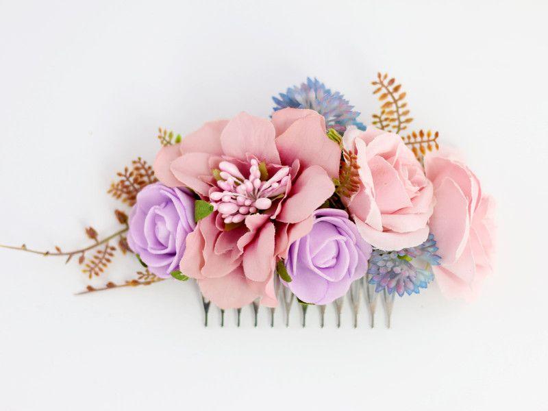 Kwiatowy Grzebien Do Wlosow Lolawhite Kwiaty Do Wlosow Floral Floral Wreath Hair Comb