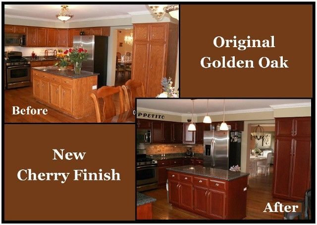Restaining kitchen cabinets kitchen cabinet carrie for Cost to refinish cabinets