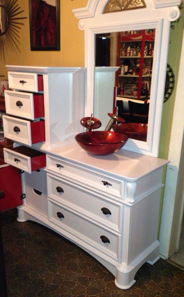 diy distressed bathroom vanity%0A Pretty antique dresser for a bathroom