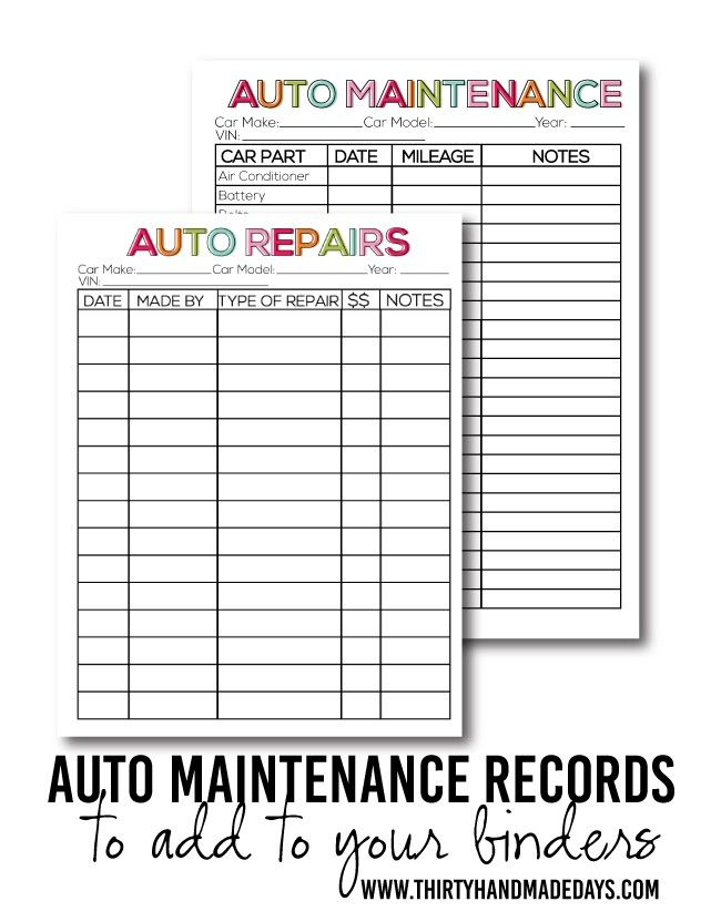 Printable Auto Maintenance Car Maintenance Household Binder Auto Repair