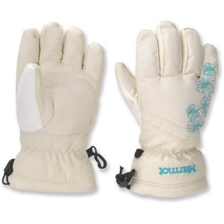 MARMOT GLADE GLOVES - GIRLS', COLOR: TURTLE DOVE,  gloves offer young adventurers insulated, waterproof protection and performance in cold and wet conditions.