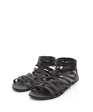 Black Leather Caged Sandals  | New Look