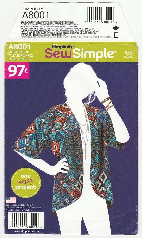 Women\'s Kimono Style Jacket Sewing Pattern, Size 6-8-10-12-14-16-18 ...