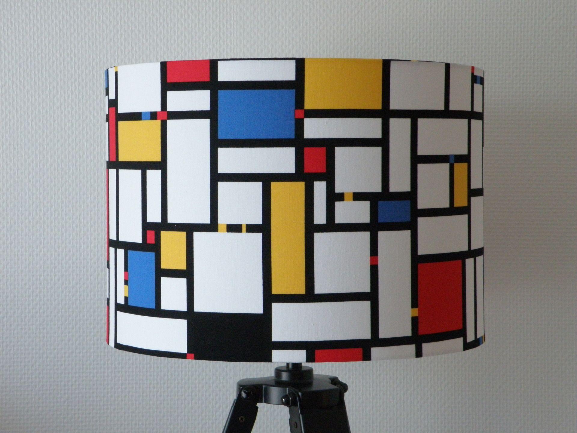 abat jour tissu composition mondrian pour pied de lampe ou pour suspension luminaires par anne. Black Bedroom Furniture Sets. Home Design Ideas