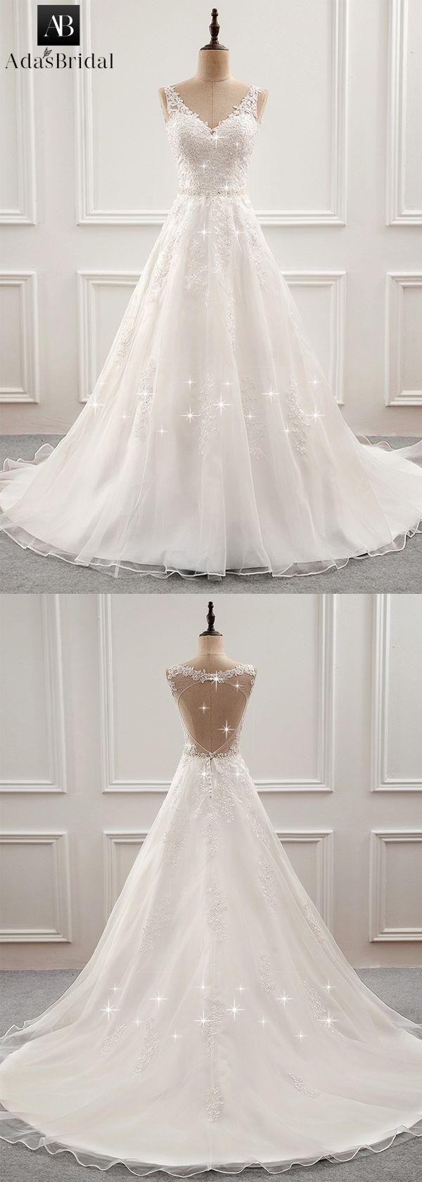 Fabulous Tulle & Organza V-neck Neckline A-Line Wedding Dress With ...