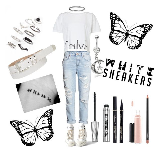 """#whitesneakers"" by heyitsmaria1d ❤ liked on Polyvore featuring H&M, Calvin Klein, G-Star Raw, Topshop, Bare Escentuals, maurices, Misbehave, MAC Cosmetics and whitesneakers"