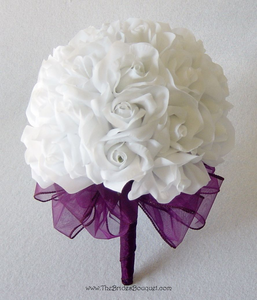36 white roses silk flower bridal bouquet wedding bridesmaid possible wedding boquet izmirmasajfo