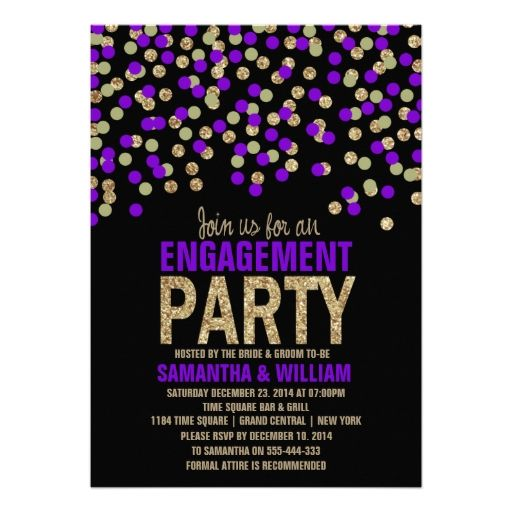 Black Purple Gold Glitter Effect Engagement Party Custom Invitation