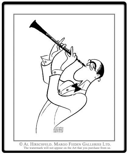 "AL HIRSCHFELD'S portrait of BENNY GOODMAN. Hand signed by Al Hirschfeld, Limited-Edition Lithograph, Edition Size: 100, 20"" (h) x 16"" (w)"