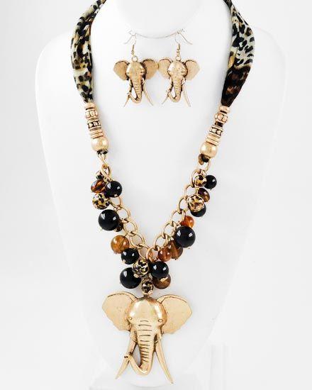 Burnished Gold Tone Metal / Black & Brown / Leopard Print Fabric & Acrylic / Lead Compliant / Animal / Elephant Pendant / Long Neck & Fish Hook Earring Set