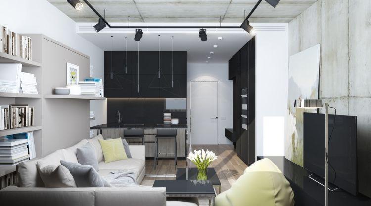 Kleine Wohnung Einrichten  30qm Raumgestaltung Einzimmerwohnung Studio  Schwarz Weiss