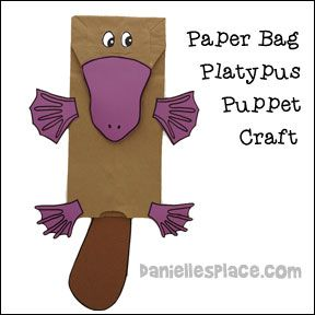 Paper bag platypus puppet craft from for Kangaroo puppet template