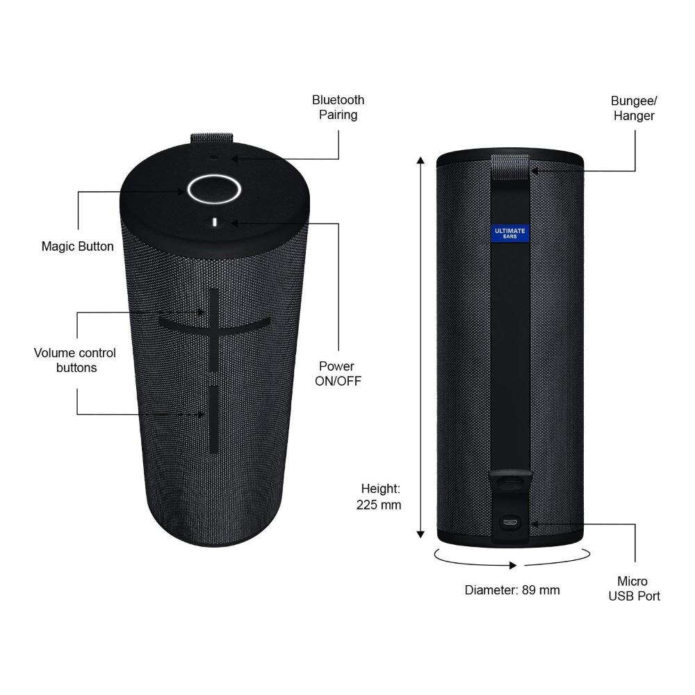 Waterproof /— Night Black Ultimate Ears MEGABOOM 3 Portable Bluetooth Wireless Speaker