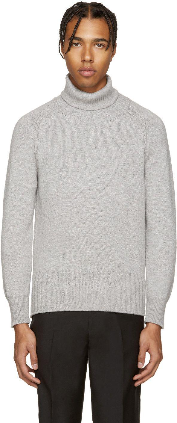Marc Jacobs Cashmere Turtleneck Grey Knit Sweater Grey Cashmere [ 1412 x 592 Pixel ]