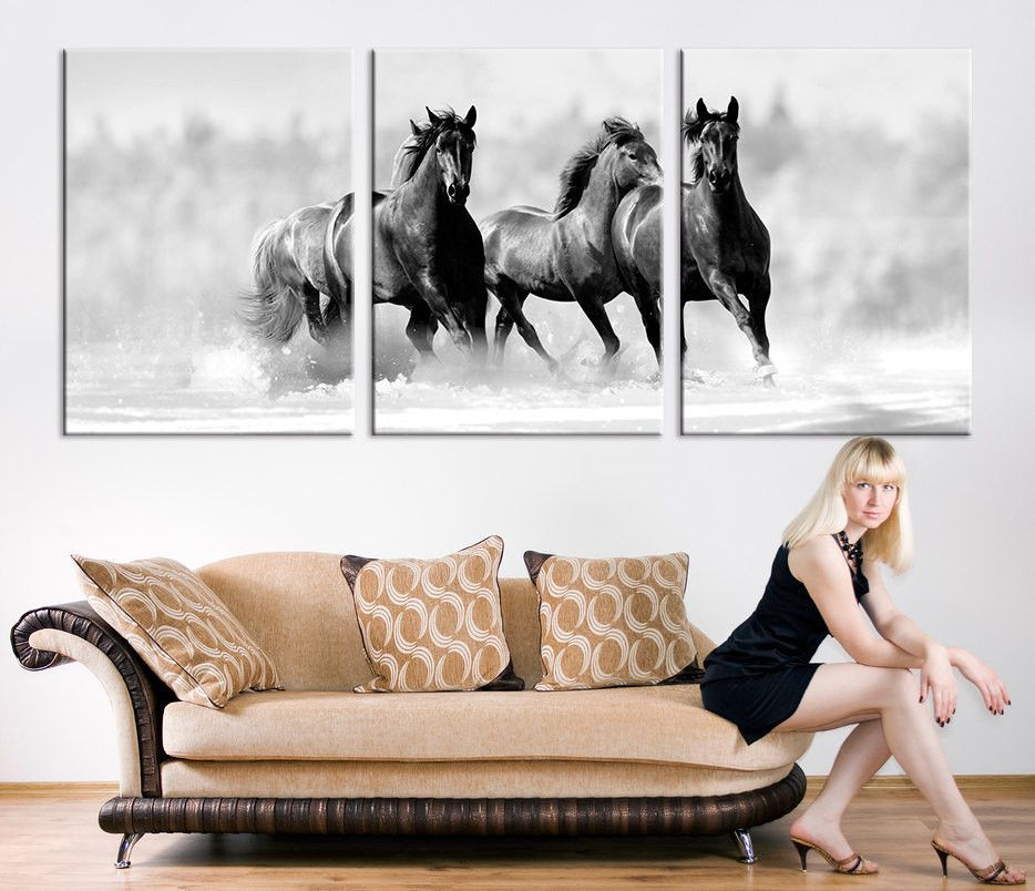 living room art prints%0A Oversize Art CANVAS PRINT  Wild Horses Canvas Art Print  Running Wild  Horses Art Print