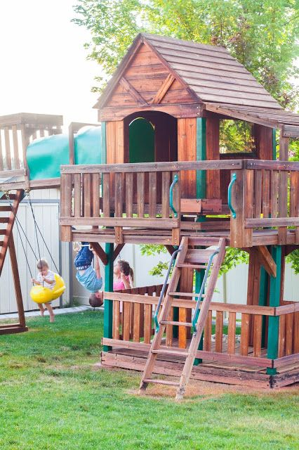 Do It Yourself Divas How To Refinish An Old Swing Set Rustoleum Stain Color Redwood Swing Set Diy Tree House Swing Set Swing Set