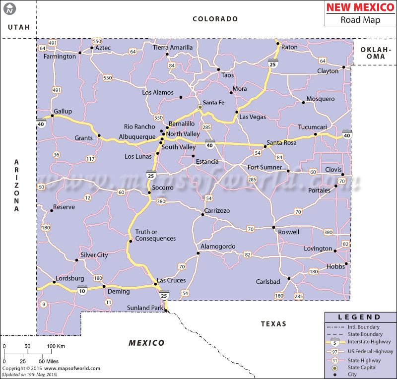 New Mexico Road Map | Highway map, Map, New mexico
