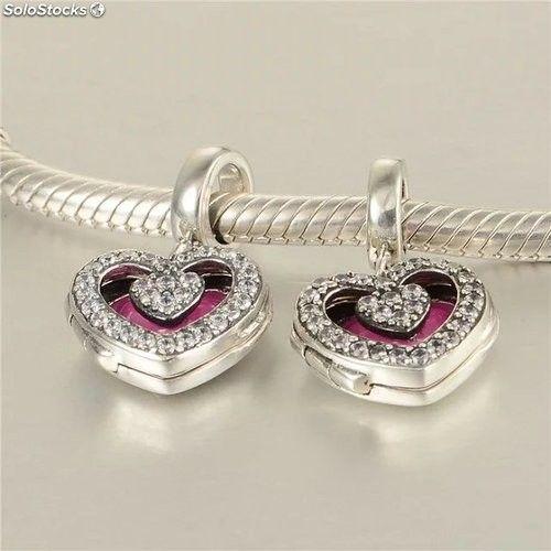 cd8118de7784 Dijes de plata diseño de corazón abalorios para pulseras ...