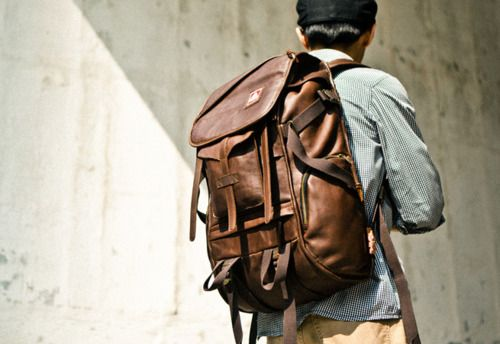 JanSport Skip Yowell leather explorer backpack.