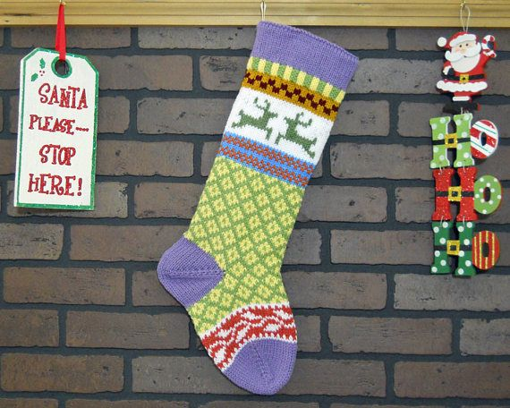 Christmas Stocking Hand Knit Fair Isle Christmas Stocking   Etsy ...