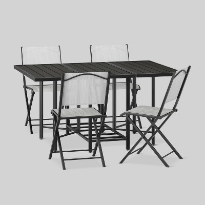 bryant 5pc outdoor stowable patio dining set black project 62 in rh pinterest com