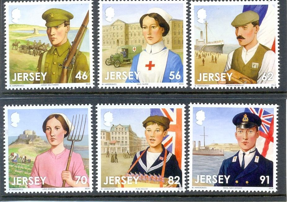 Jersey-World War I-The Great War new issue mnh set of 6 - 2014