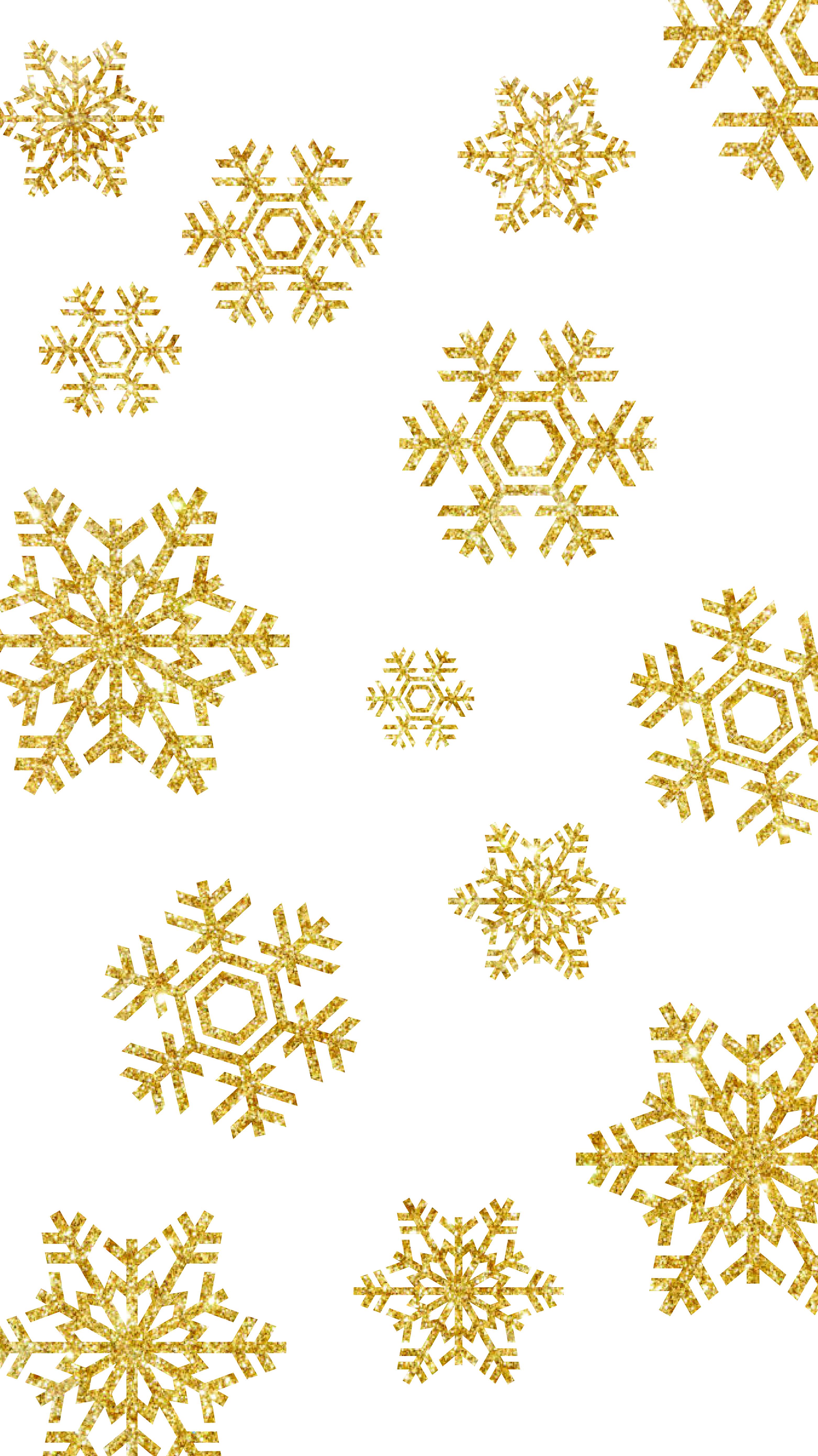Winter Gold Snowflake Iphone Wallpaper